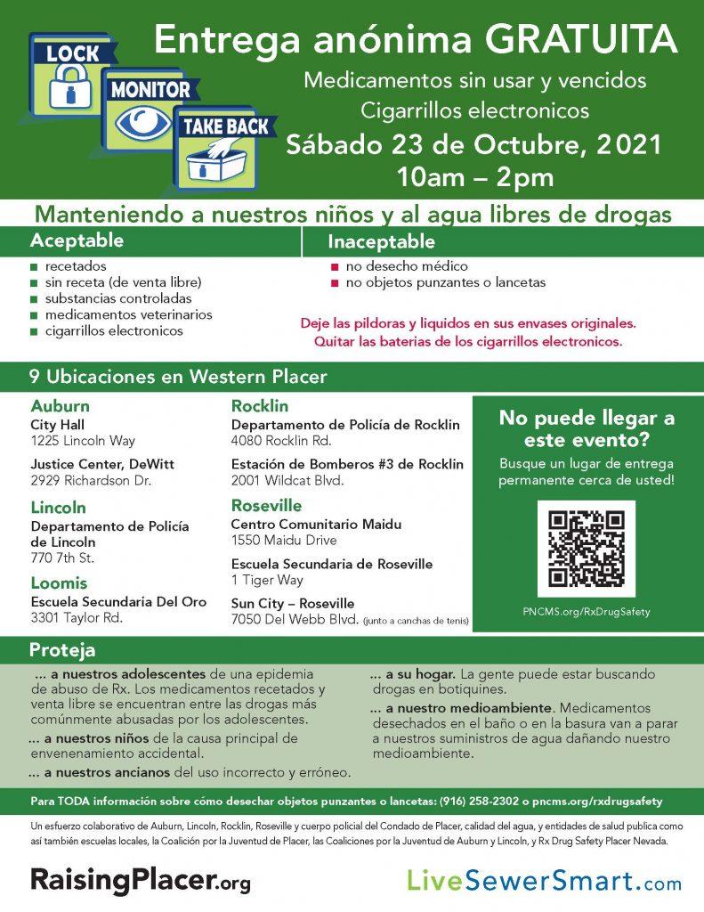 October 23 2021  take-back event spanish flyer